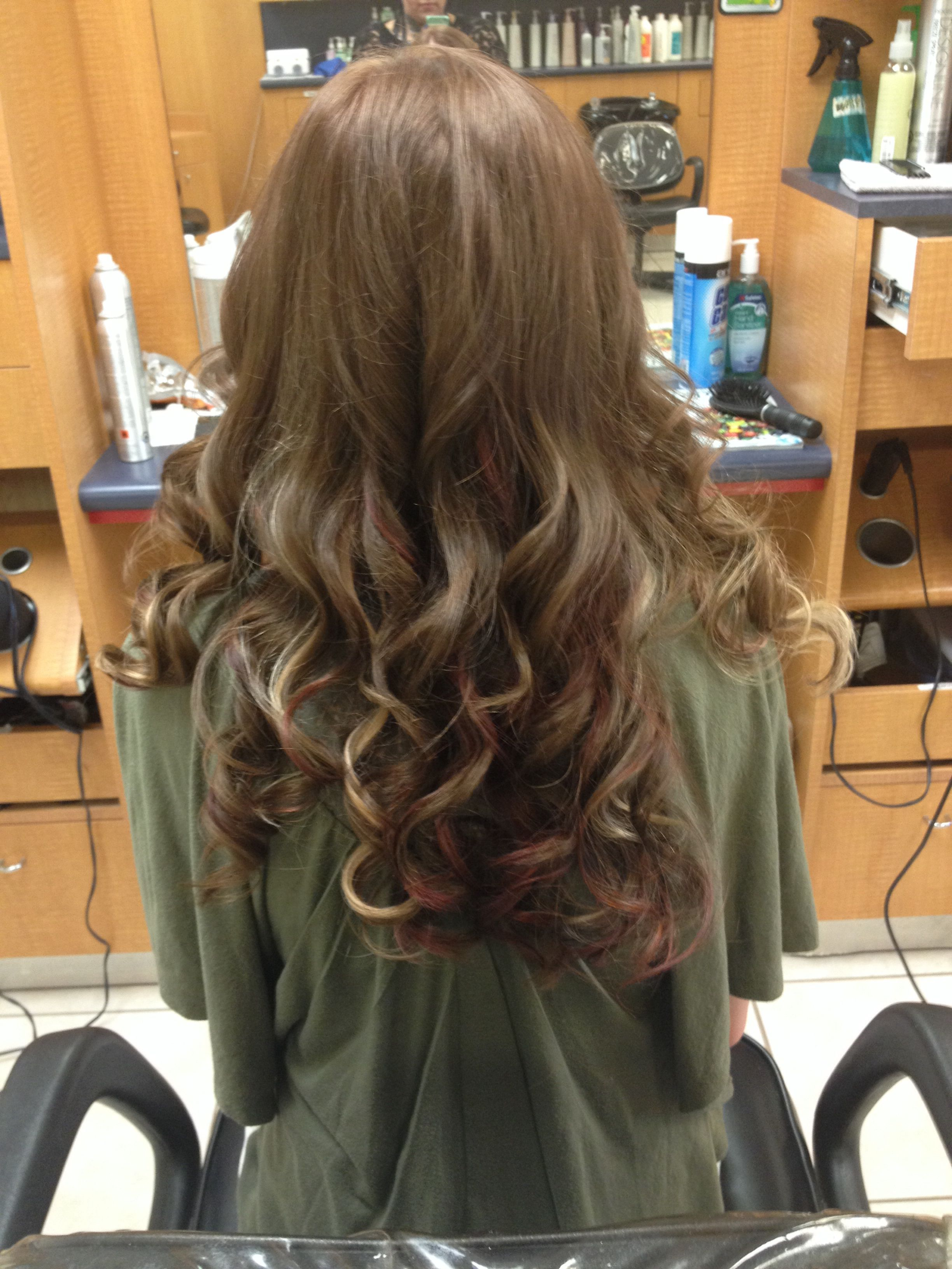 Brown Hair With Blonde And Red Peekaboo Highlights Hair Makeup