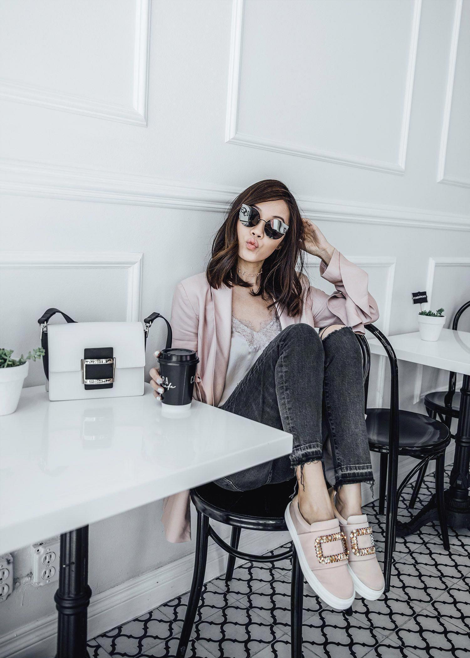 2e436fe04bf Street style fashion blogger influencer Jenny Tsang of Tsangtastic wearing  C MEO COLLECTIVE Replay Ruffle Blazer