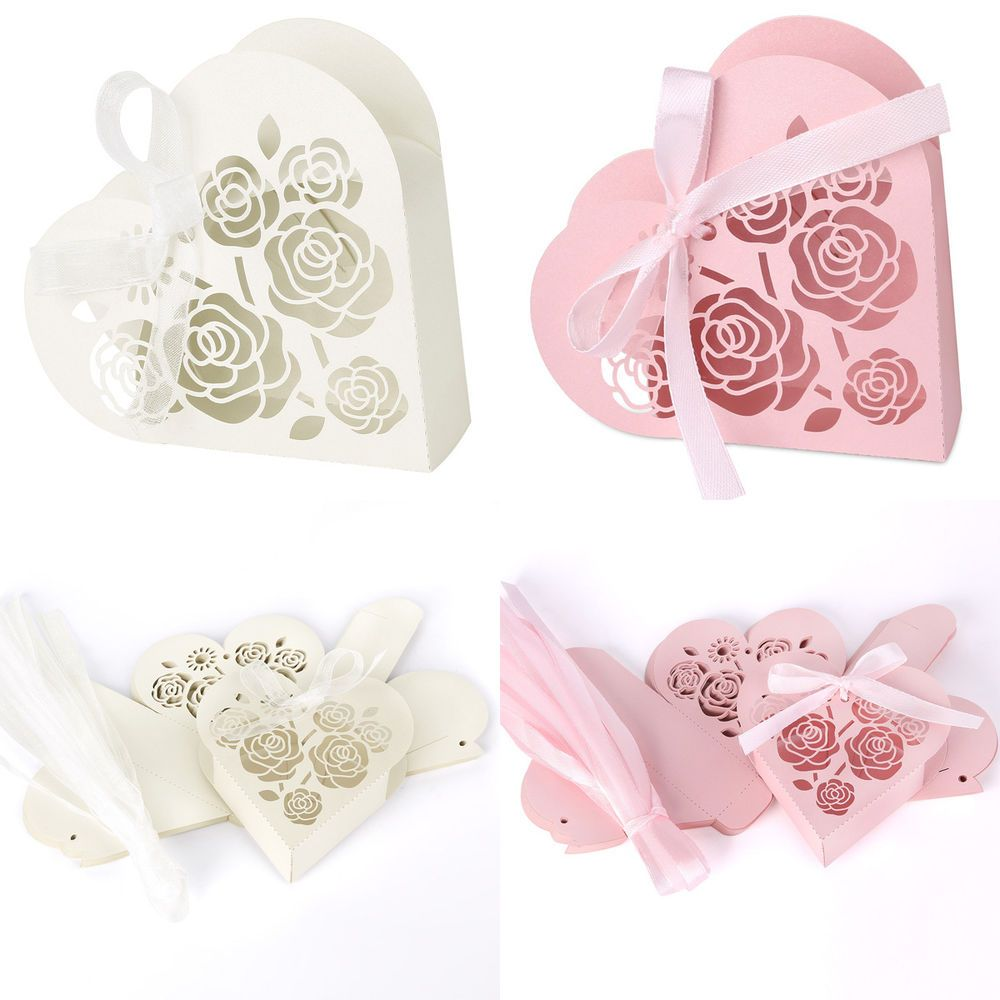 Lots Love Heart Laser Cut Gift Candy Boxes With Ribbon Wedding Party ...