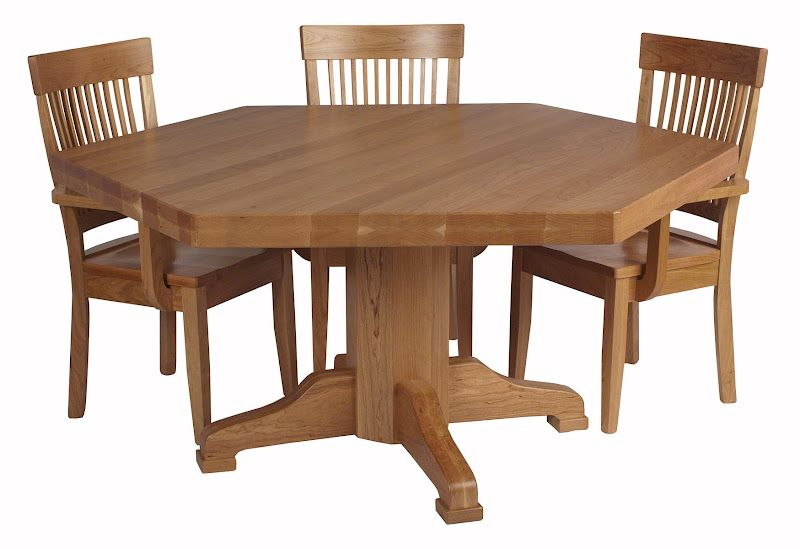 """66"""" Diameter, 6 Sided Savoy Table and Harvest Chairs in Natural Cherry from Erik Organic"""