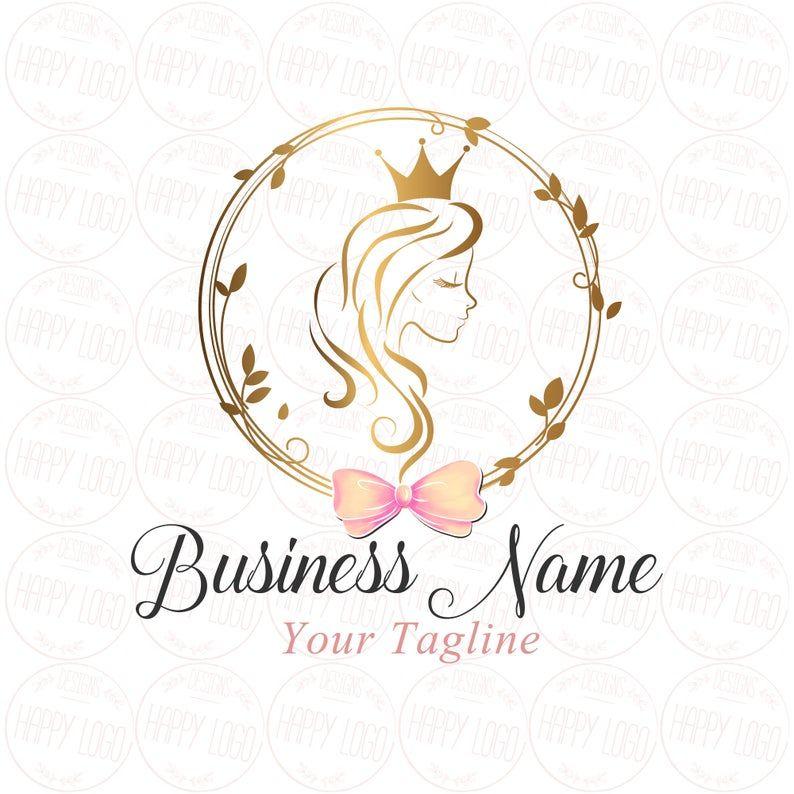 Digital Custom Logo Design Hair Crown Beauty Logo Gold Girl Long Hair Crown Lady Bow Beauty Logo Gold Queen Logo Gold Logo Hair Saloon Logo Pakaian Desain Produk Desain Logo Bisnis