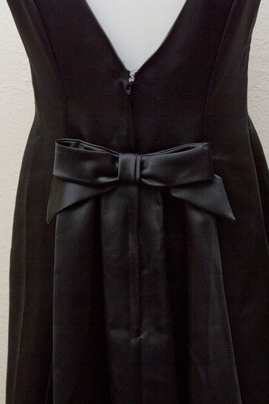 Evening Gown - Bow Back Black Silky Formal Dress (Vintage) - S / Small /  6. $72.00, via Etsy.