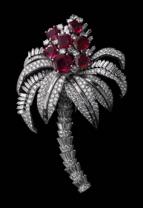Palm-Tree Clip Brooch, Cartier Paris, special order, 1957