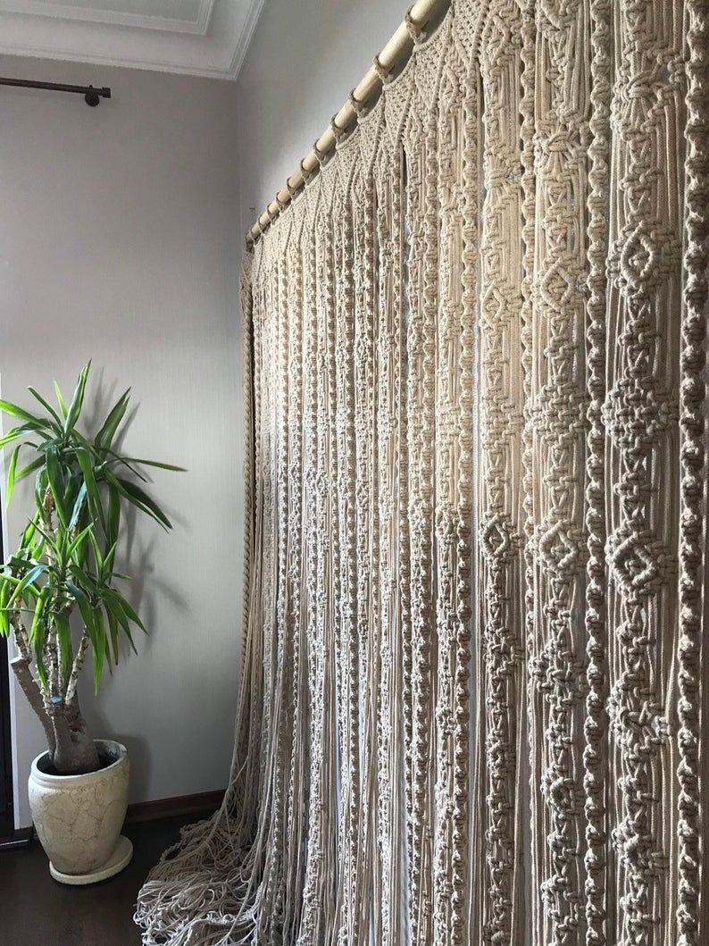 Macrame Curtain Macrame Panels Door Curtain Room Divider Macrame Window Curtain Boho Curtains In 2020 Room Divider Curtain Door Curtains Diy Macrame Door Curtain