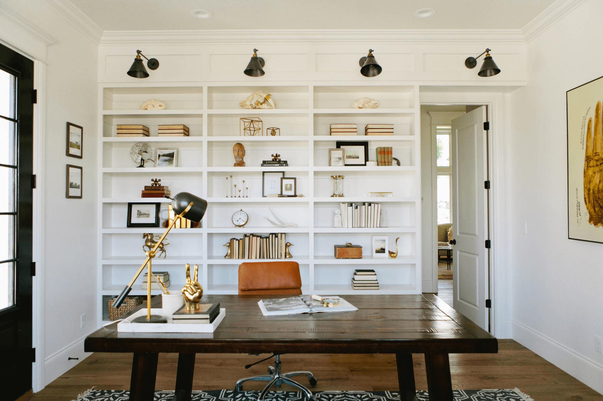 white built in shelves in home office   Home Office Ideas ...