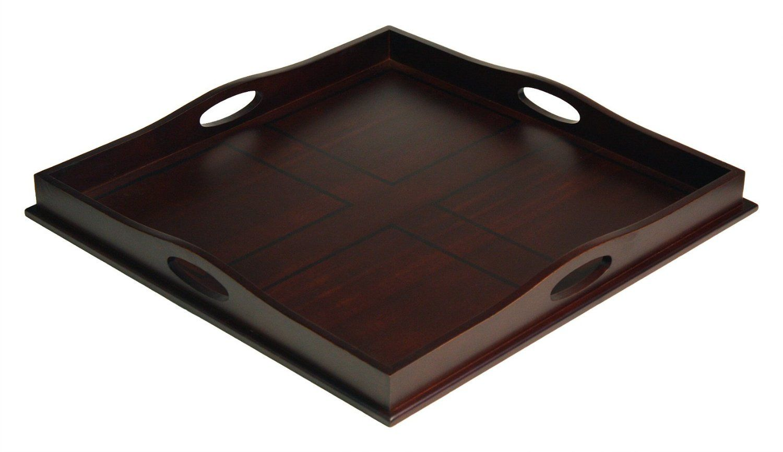 "Decorative Plastic Serving Trays Amazon  Mountain Woods 23"" Square Ottoman Luxury Wooden"
