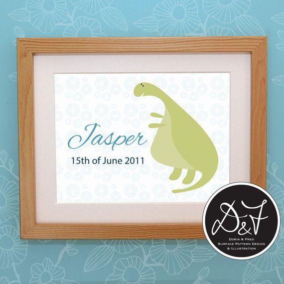 Personalised Dinosaur Name Illustration for by dorisandfred, $25.00