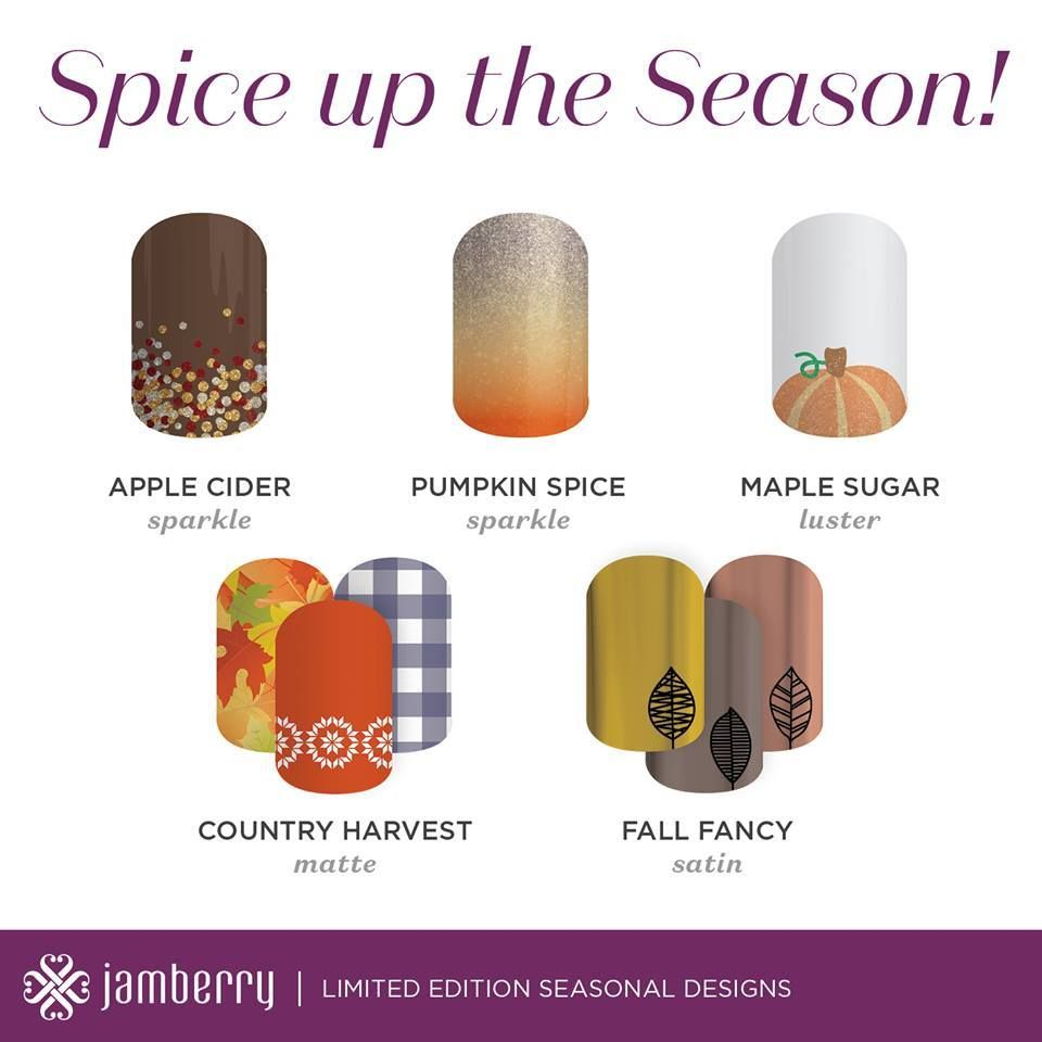 Let's make PSW a thing!! (Pumpkin Spice Wraps--of course!) Bring fall to your fingertips with these fun designs! 2hallgirls.jamberry.com #fall #wraps #diynails #getpaidtohaveprettynails