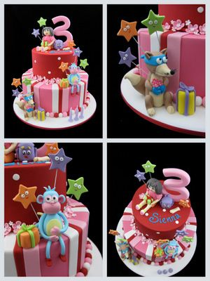 Dora Cake For 3rd Birthday With Boots Swiper And Backpack cakepins