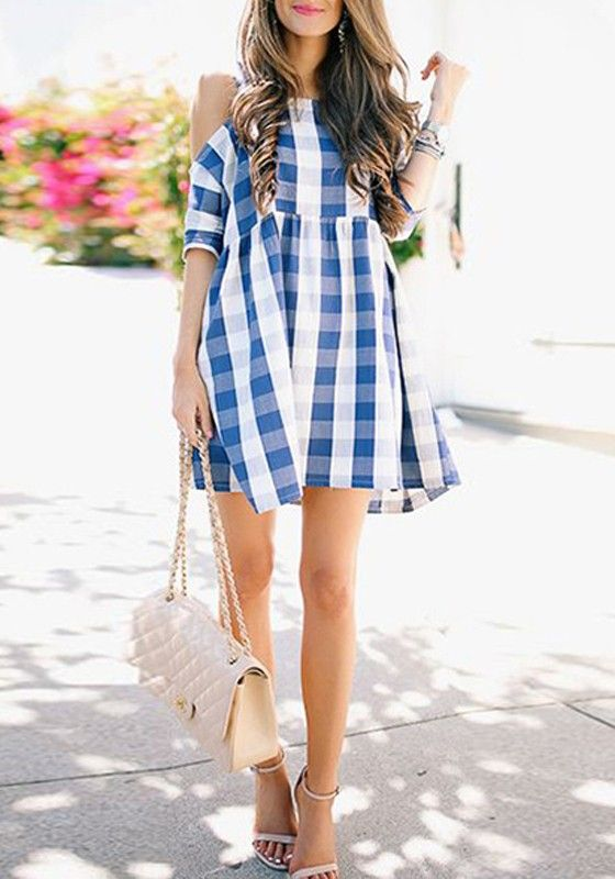 ee5898003a9 Blue Plaid Off The Shoulder Cut Out High Waisted Round Neck Elbow Sleeve  Cute Teens Mini Dress