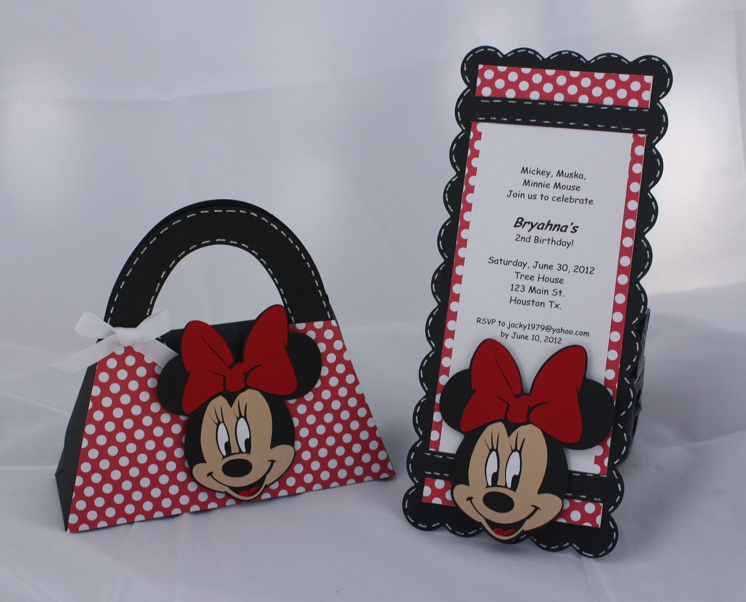 Minnie Mouse Birthday Invitations and Goody Bag Set 4000 via – Minnie Invitations for Birthdays