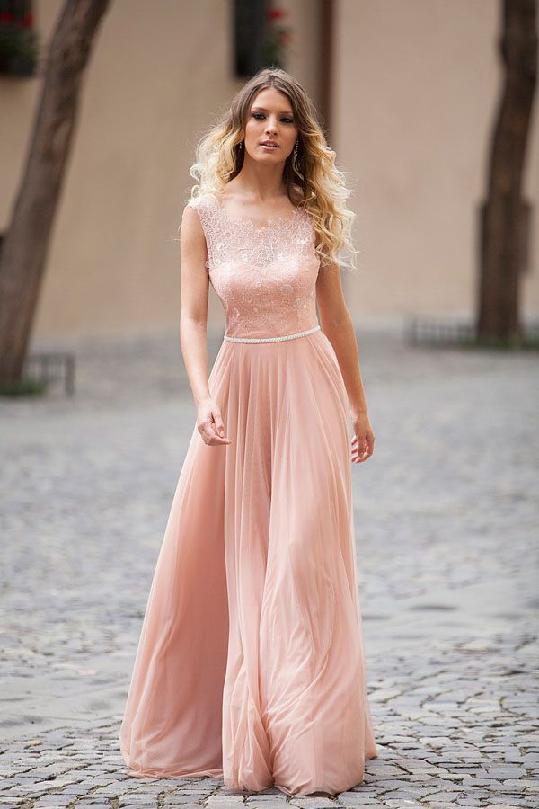 13bbb25d2a0 Blush pink lace and chiffon sleeveless elegant A-line long prom dress.  Illusion neckline with scalloped lace overlay
