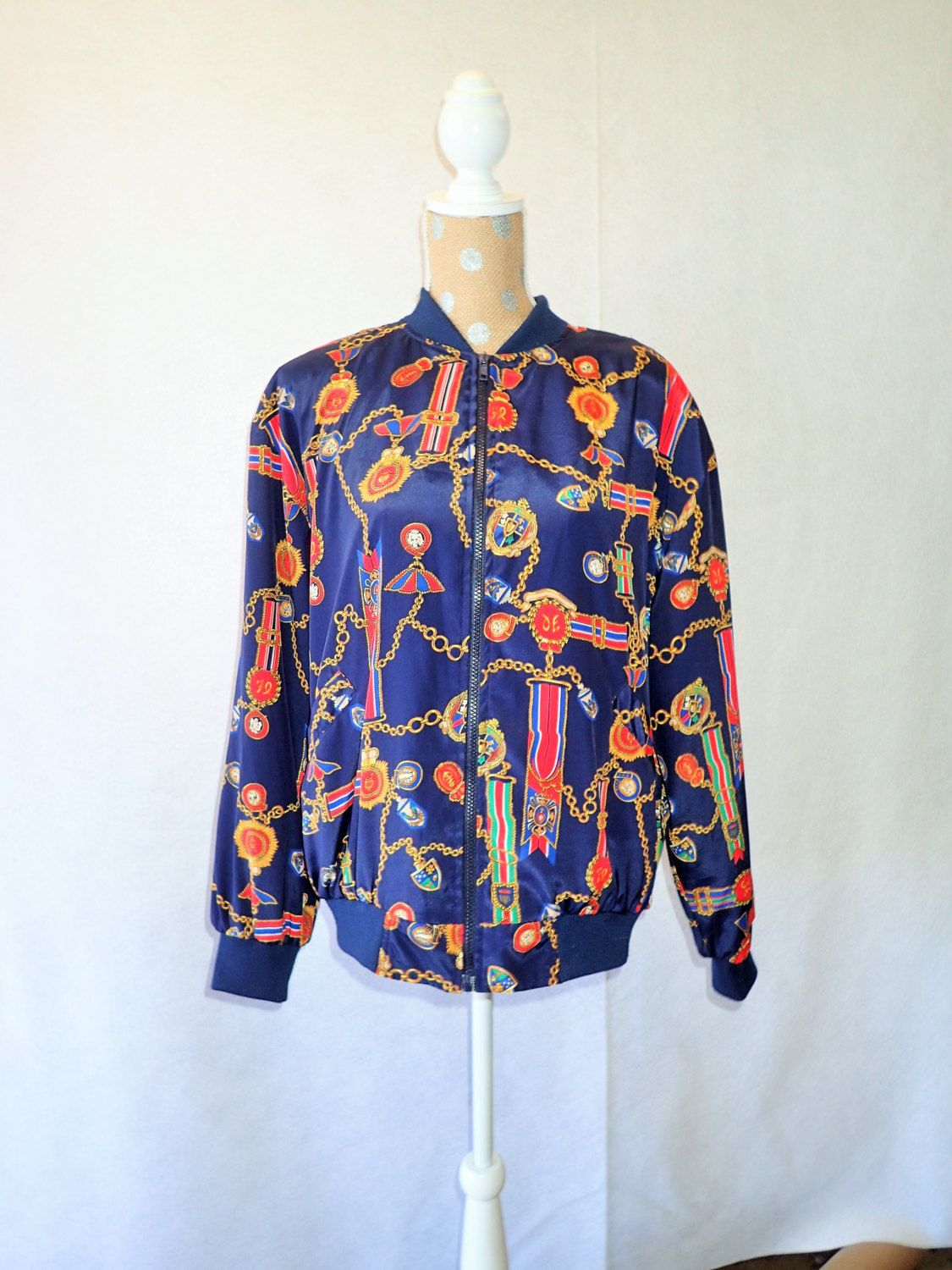 80s Womens Vintage ALFRED DUNNER Classic Vintage Bomber Jacket Equestrian  Nautical Retro - Large