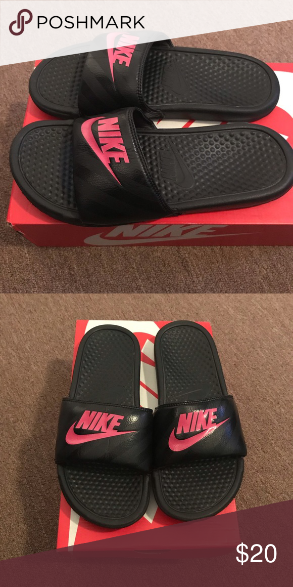 0408c89c96d08 Nike slide Women s size 9 Pink and black used (great condition) women s  size 9 Nike slides no box. Nike Shoes Sandals