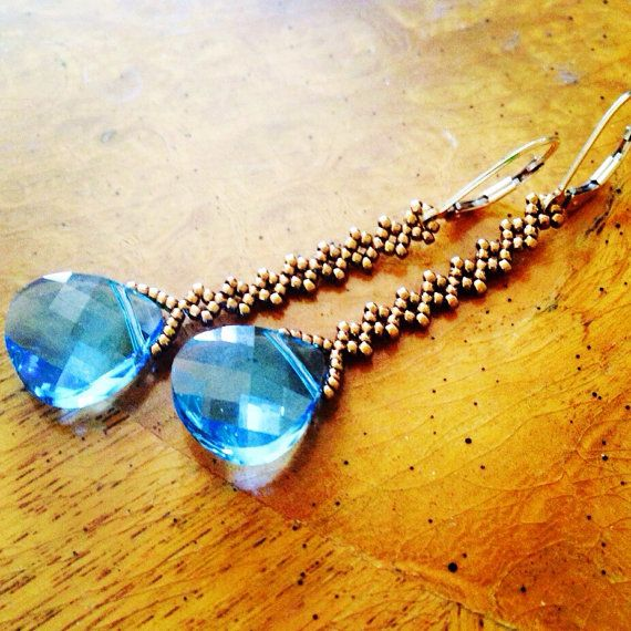 Swarovski blue crystal earrings blue earrings by AmyKanarekDesigns