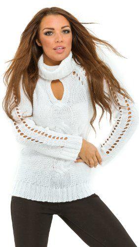 $25.99 nice Glamour Empire Women's Tear Drop Cut Braided Polo Neck Knit Sweater Jumper 407