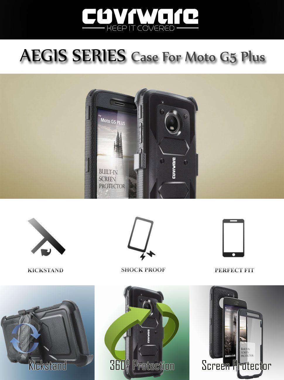 factory authentic f5dbe 46a2d Amazon.com: Moto G5 Plus Case, COVRWARE [Aegis Series] w/ Built-in ...