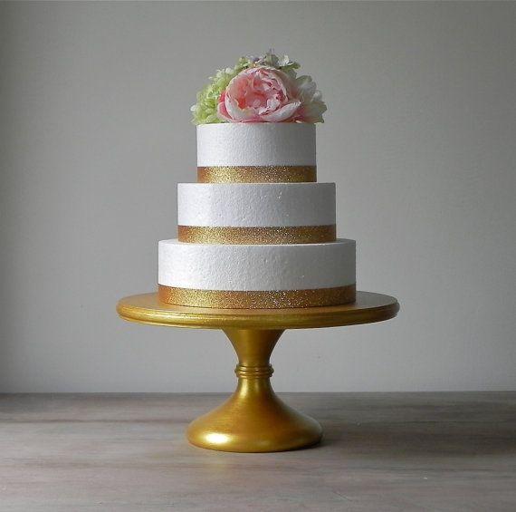 16 Gold Metallic Wedding Cake Stand Pedestal Rustic Wooden Decor E Isabella