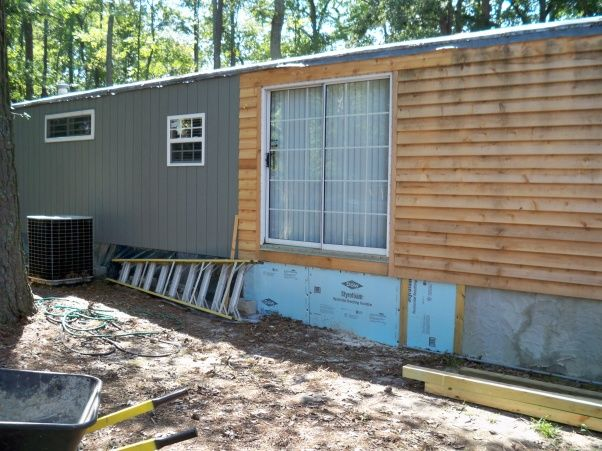 Mobile home exterior remodel, Install siding and underpinning, Home ...