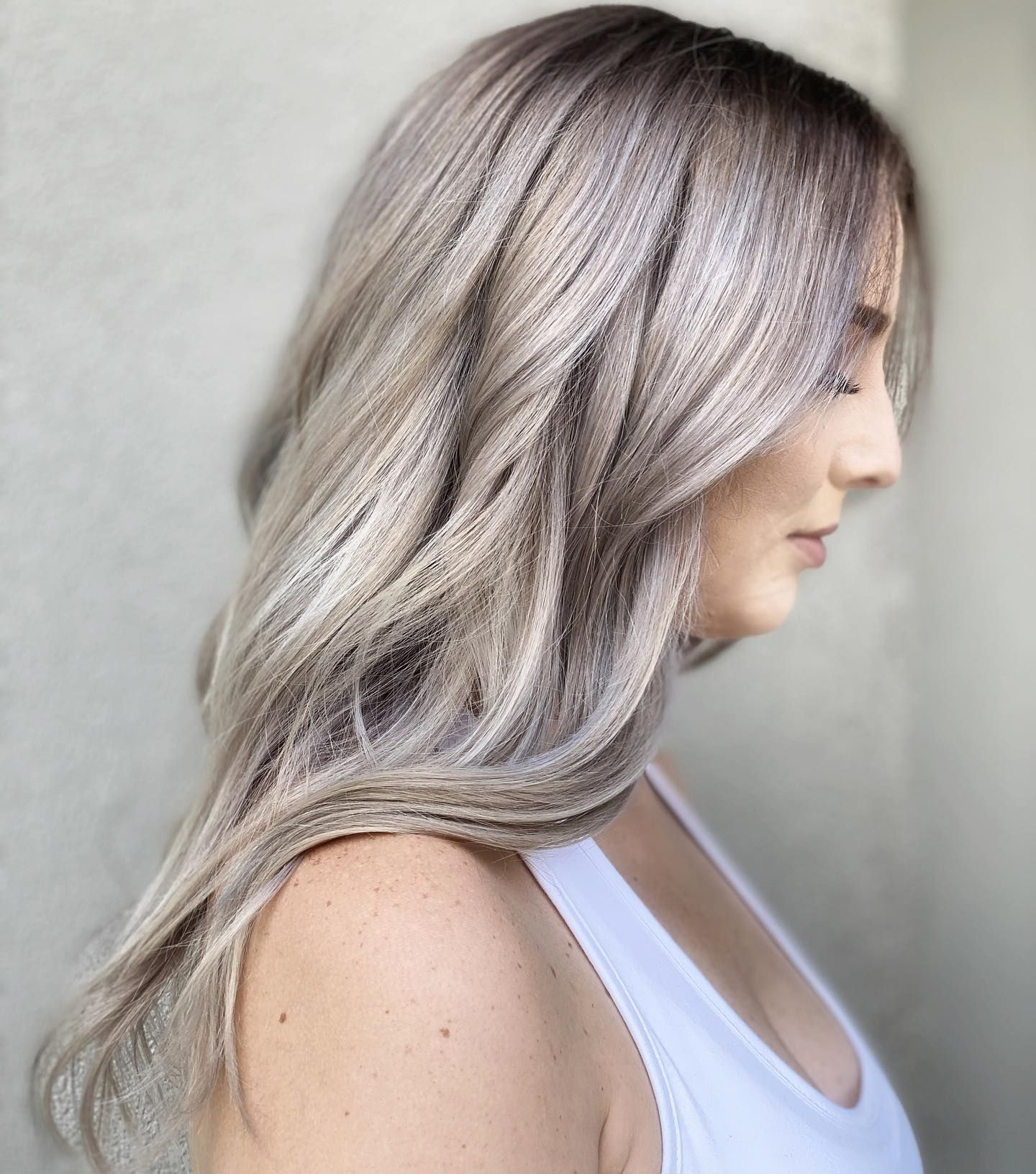 Silver Blonde With Shadowroot Lucyblackstudio Hair Shadow Silver Blonde Balayage