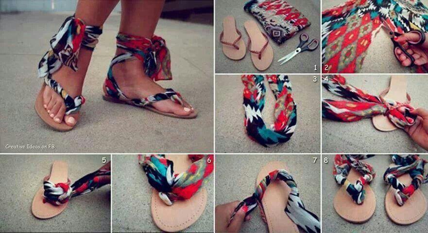 6ed9af72442a8 Turn flip flops into gladiator sandals - DIY