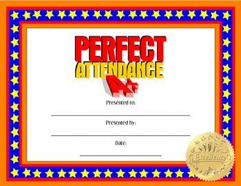 printable perfect attendance certificate
