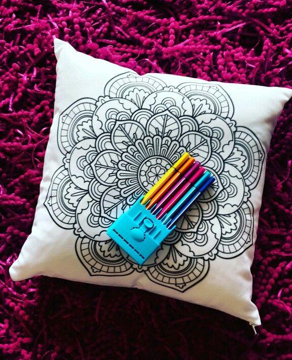 Cojines mandalas 50x50 para colorear marcadores lavables ...