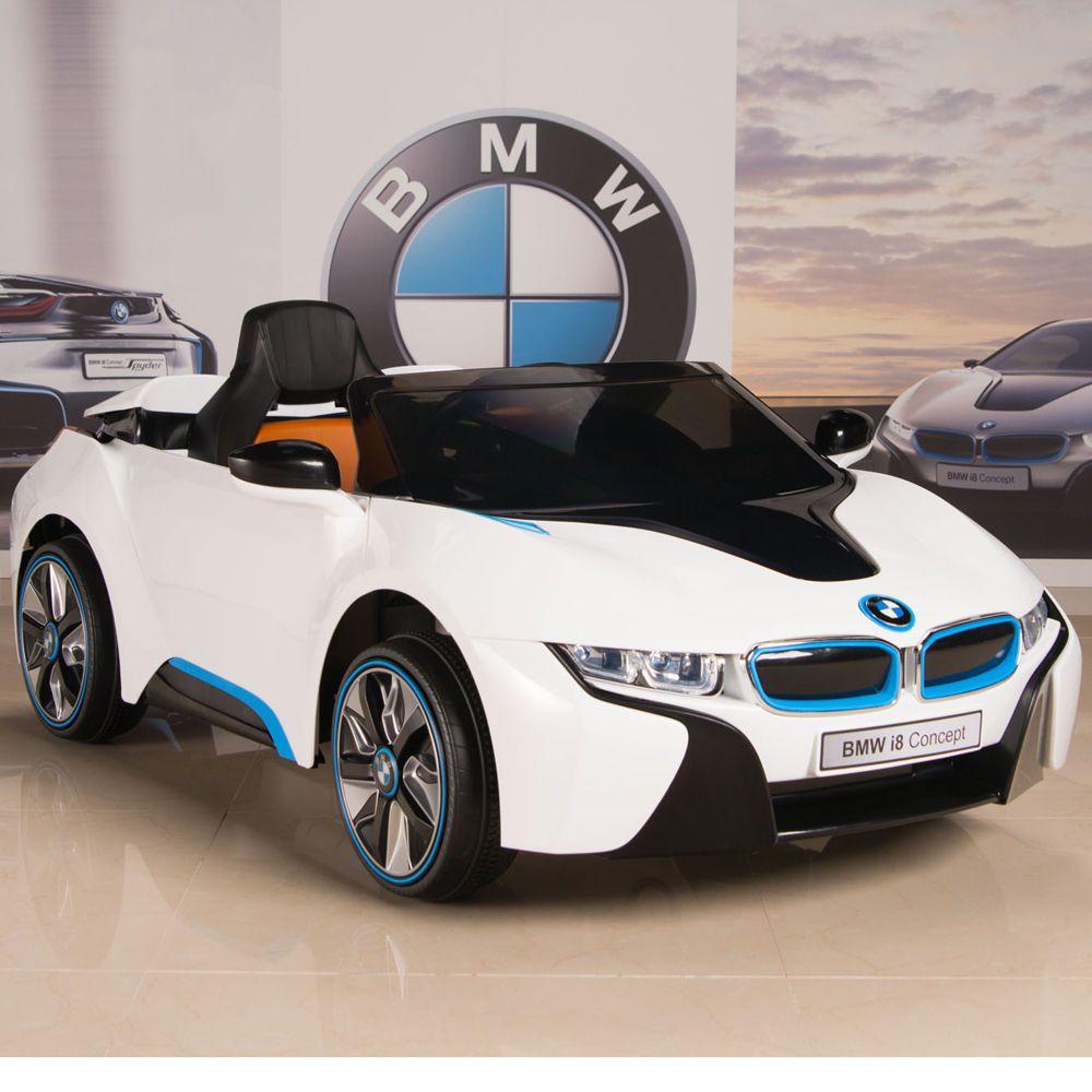 Bmw I8 Ride On Kids Powered Wheels Car Rc Remote 12v White W Blue