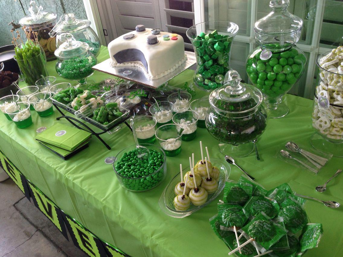 Green candy buffet Xbox birthday party, Halo birthday