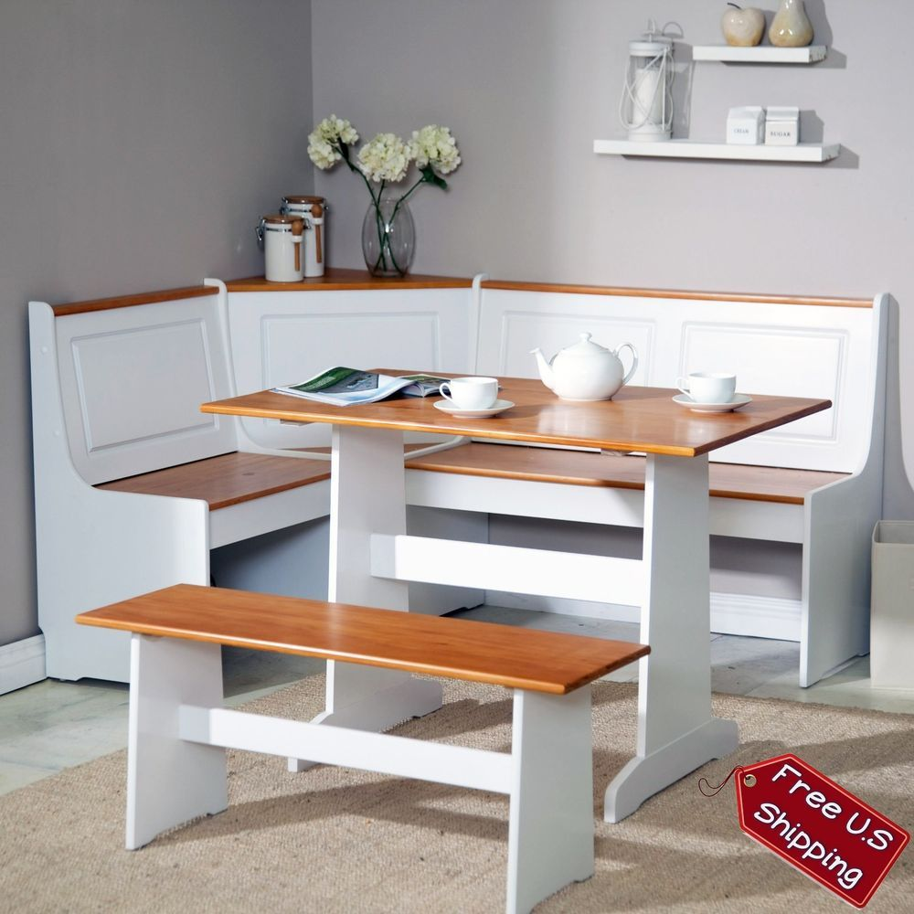 Corner Nook Dining Set Bench Breakfast Kitchen Booth Dinette Table White Storage Traditional