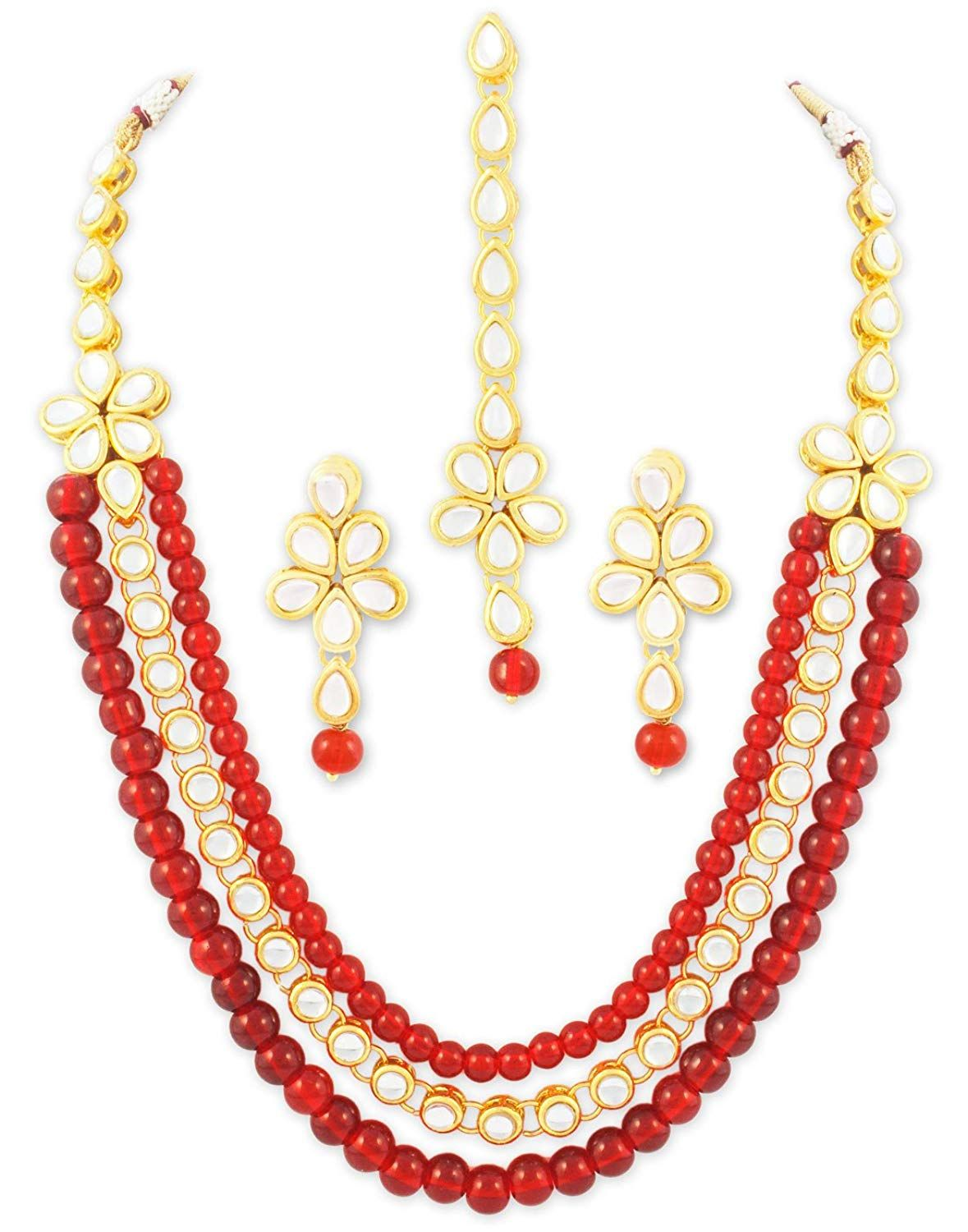 Karatcart Indian Traditional Mughal Bridal Designer Jewelry Gold Plated Red Stone Kundan Necklace Set for Women