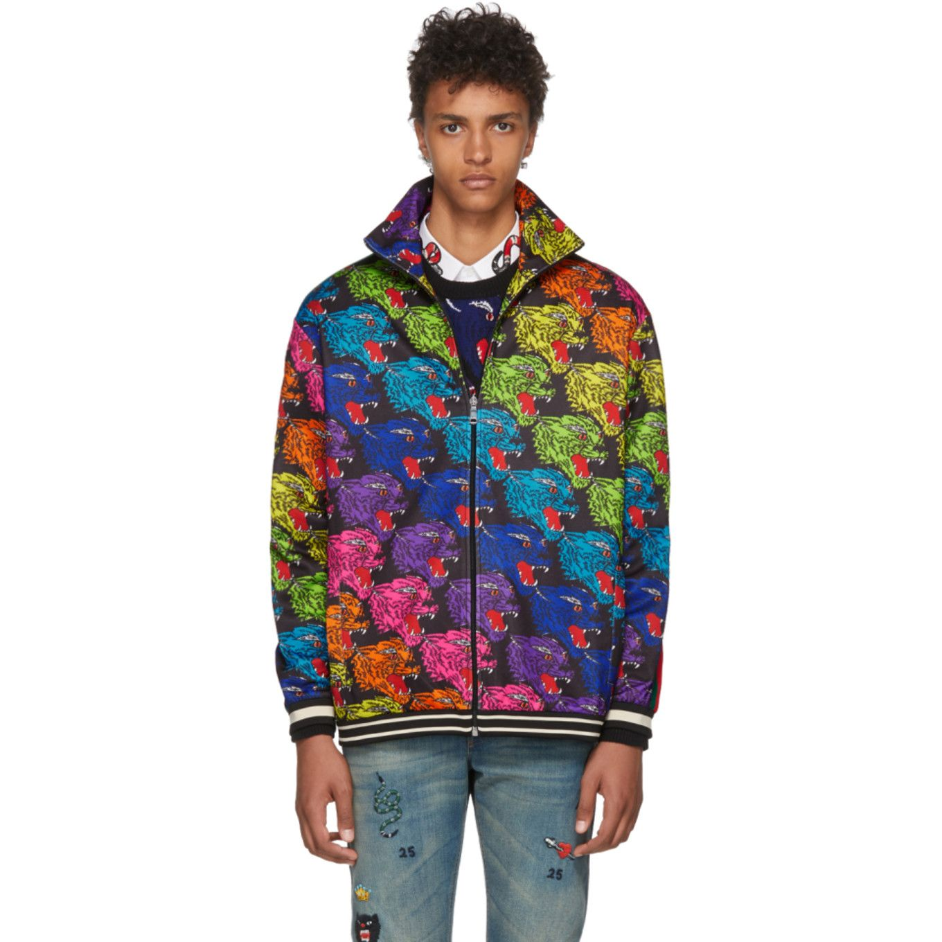Gucci Black Panther Face Track Jacket Track Jackets Black Panther Face Gucci Black [ 1360 x 1360 Pixel ]