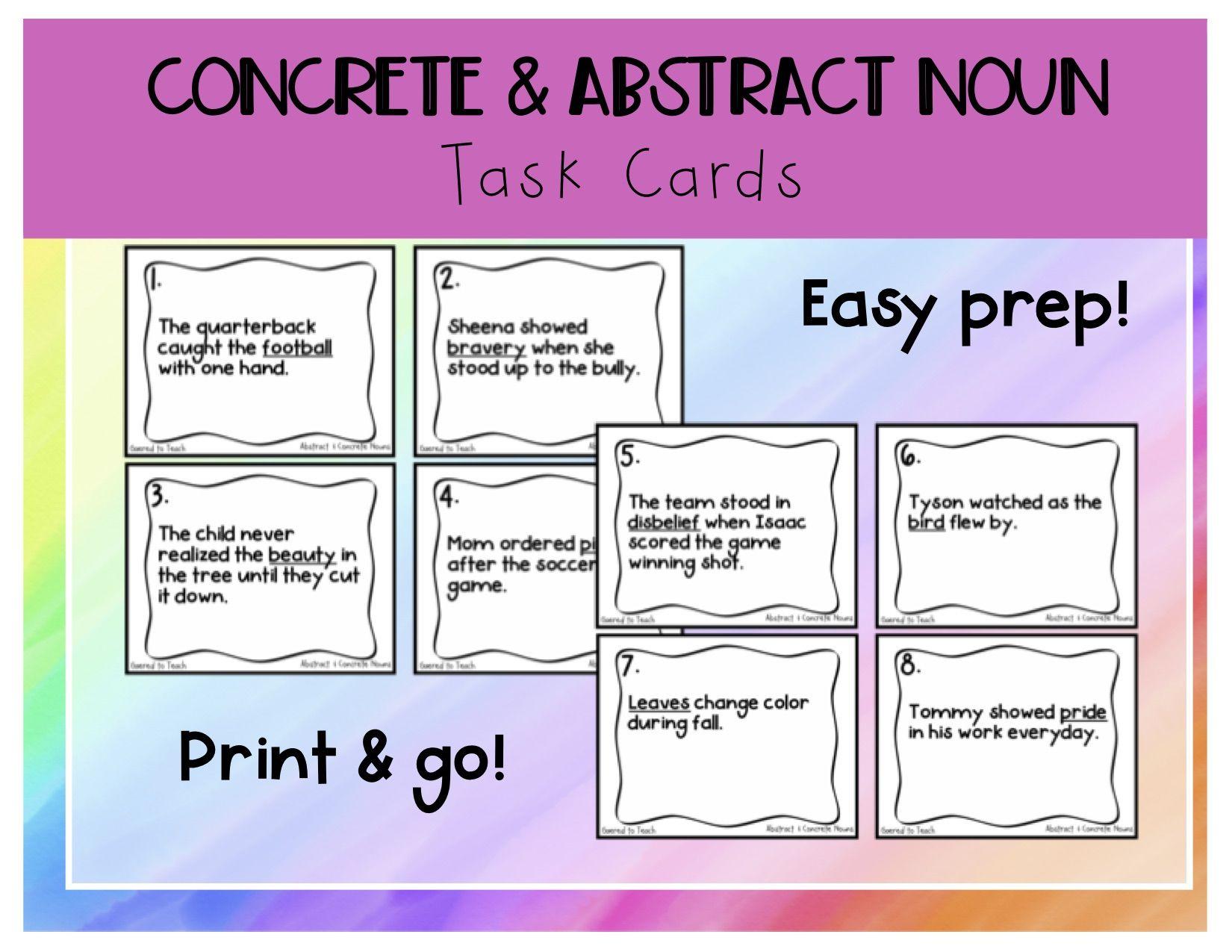 Concrete Amp Abstract Noun Task Cards