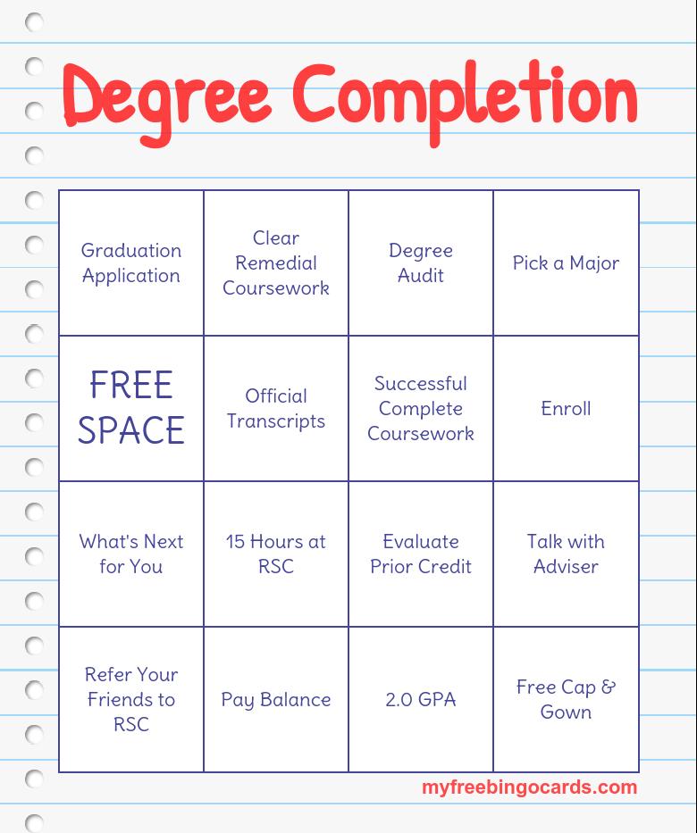 Degree Completion Bingo