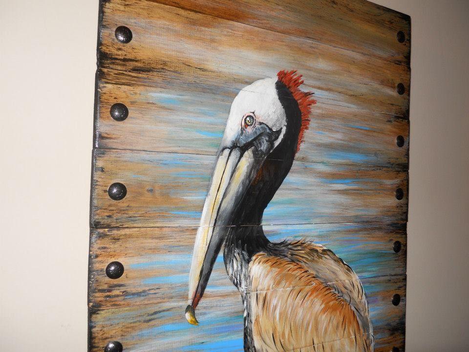 Custom Wood Art Pelican Painting Reclaimed