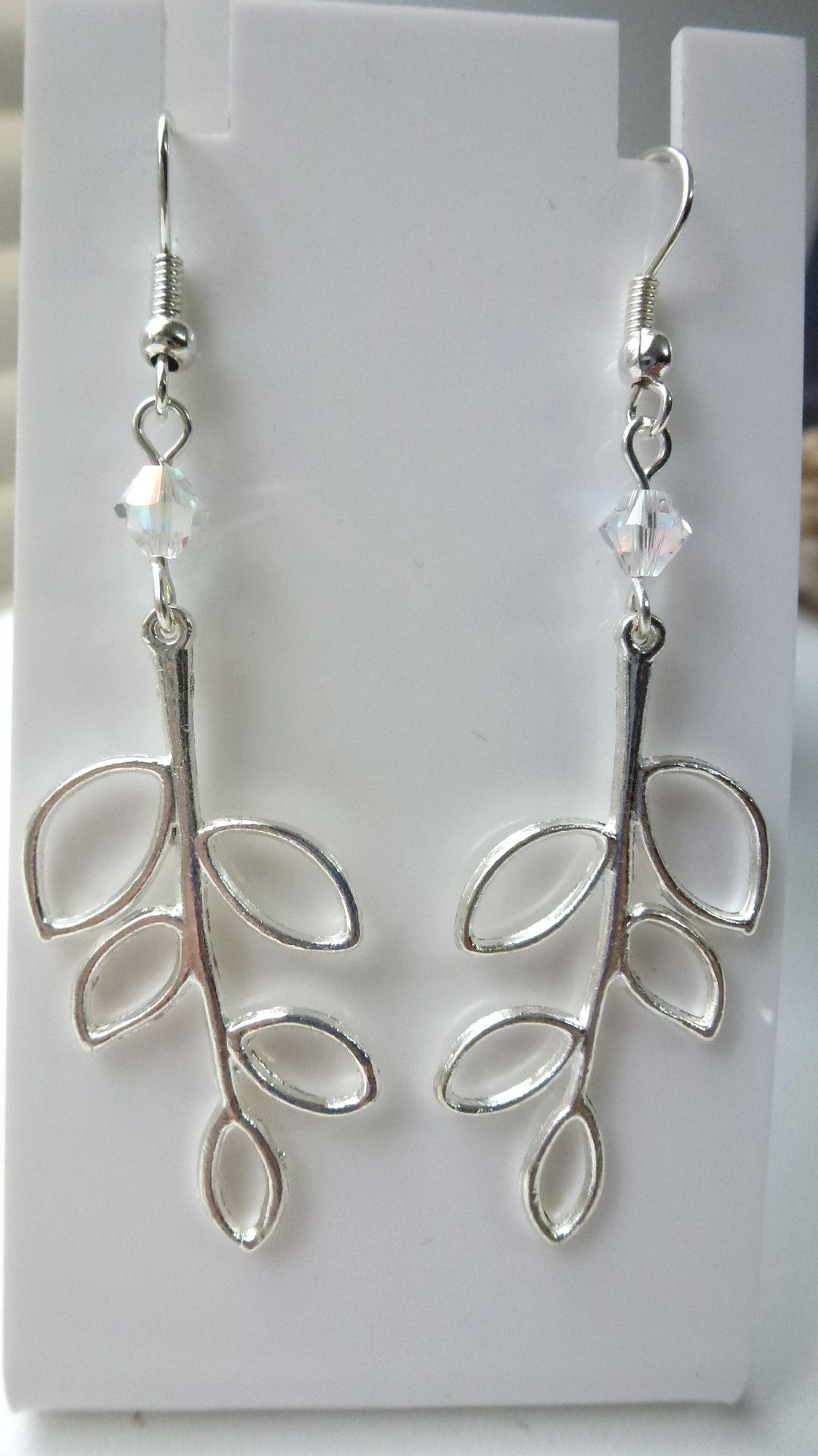 Swaroski Crystal/Leaf Earrings - Multiple Colours Available
