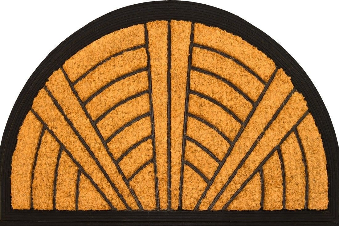 Half round art deco fan coir coco rubber doormat pinterest