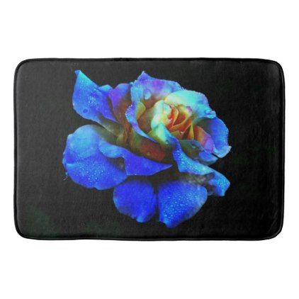 #floral - #Sapphire and Yellow Rose Bath Mat