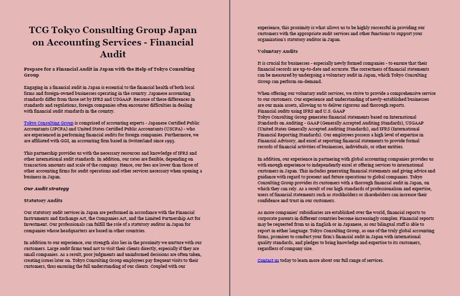 TCG Tokyo Consulting Group Japan Business Setup #BusinessSetup - Essential Financial Statements Business