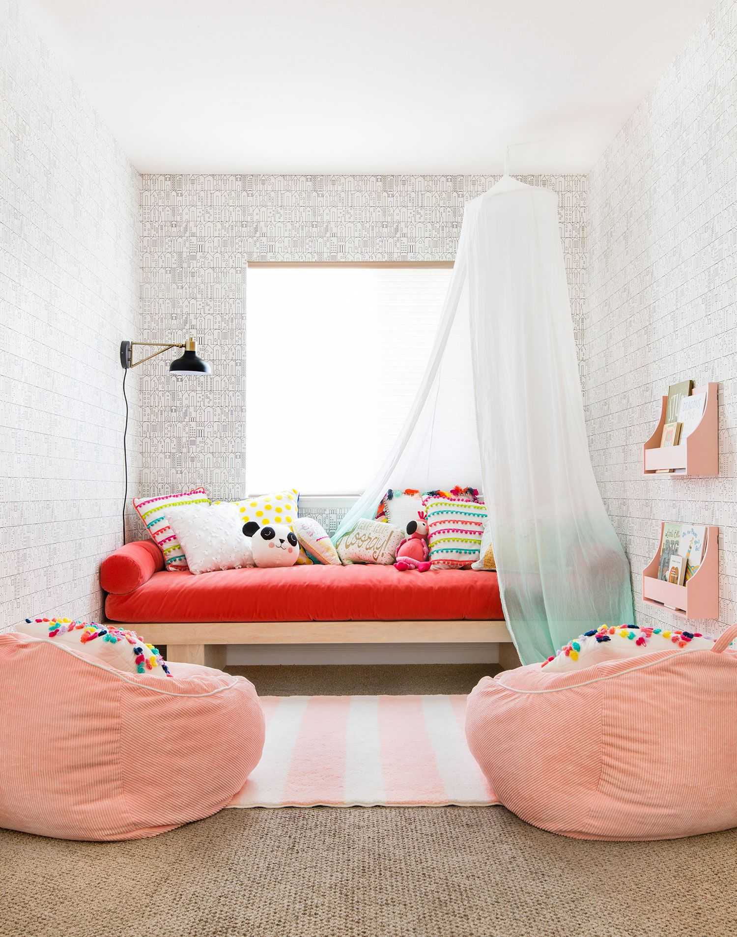 Emily Henderson Transforms A Playroom With The Pillowfort Kids Decor Collection From Target Kid Room Decor Pillow Fort Colorful Playroom