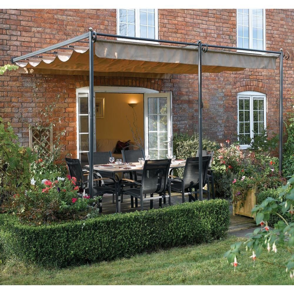 Bosmere English Garden 10 Ft 9 In X 8 Ft 10 In Gunmetal Grey Steel Wall Mount Retractable Canopy A026 The Home D Pergola Patio Patio Canopy Metal Pergola