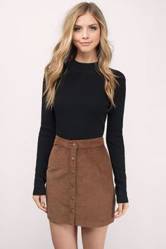 "Shop the ""Ilyn Camel Corduroy Skirt"" on Tobi.com now! high waist casual outfit daytime school style chic student day"