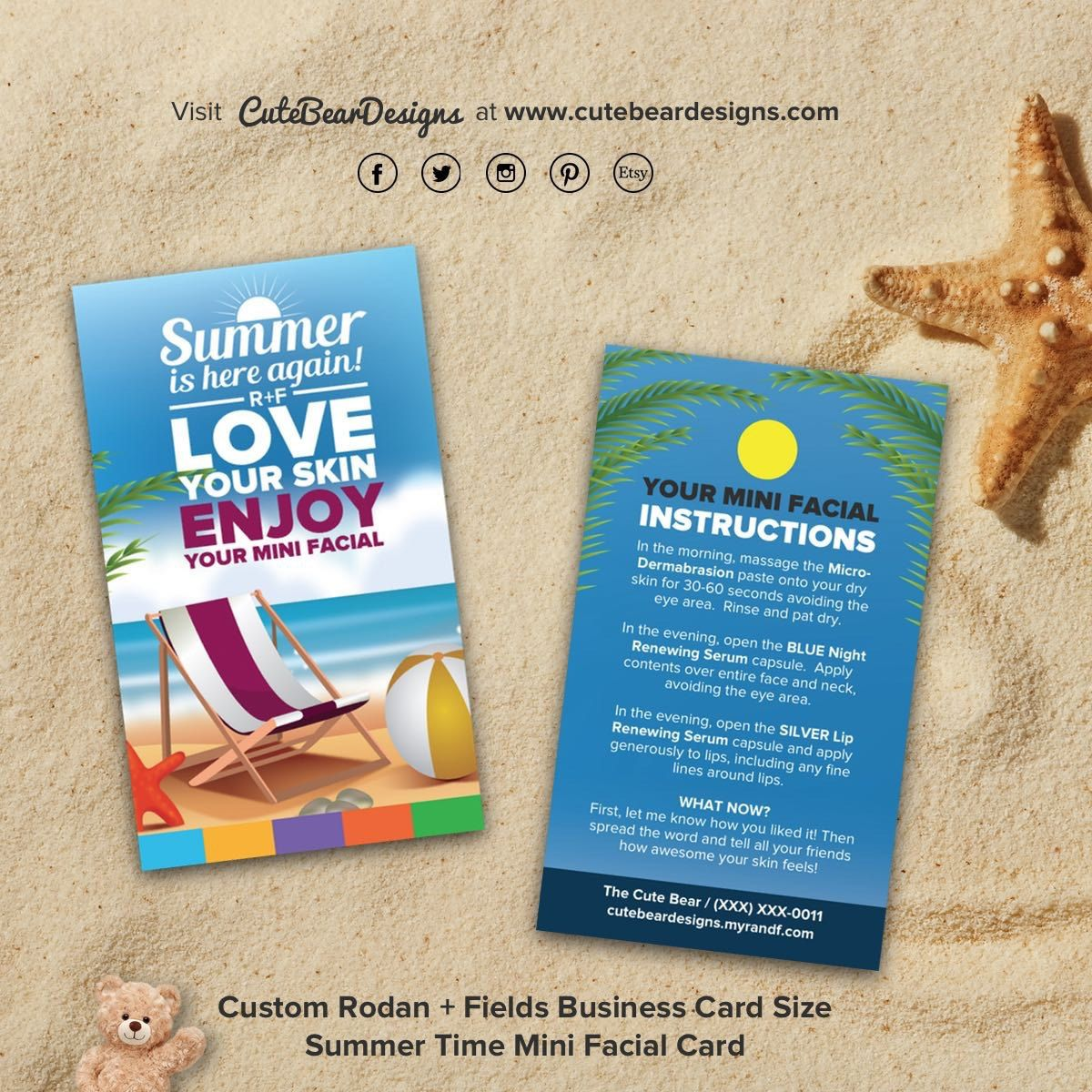 Rodan + Fields (Business Card Size) Welcome Summer Mini Facial Card