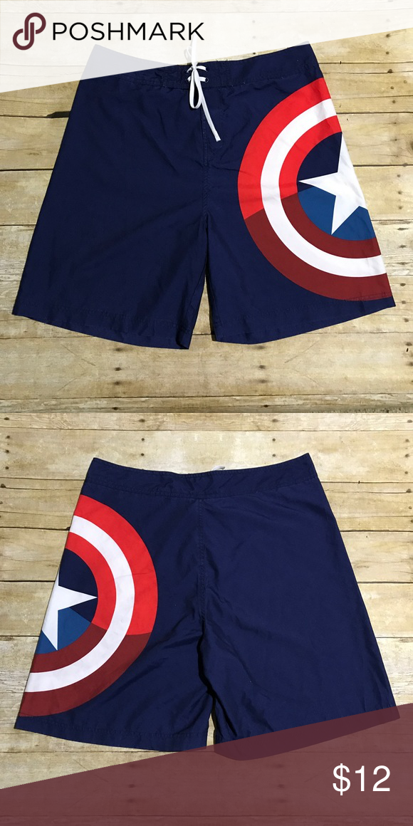a3078a49f2 Captain America board shorts What's cooler than Captain America board shorts?  Like new! Top of waist measures approx 17in, approx 20in long, ...