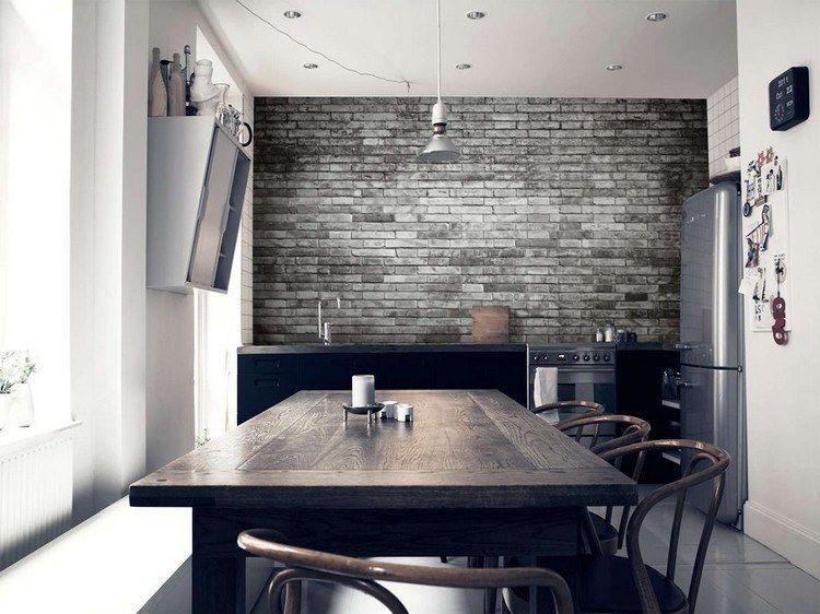 Papier peint trompe l il 33 id es pour embellir maison - Deco murale salle a manger ...