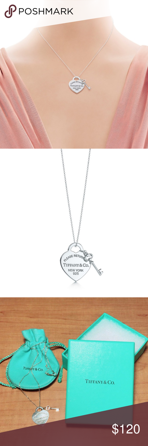 015296944cdf Tiffany   Co Heart Tag with Key Pendant Authentic Tiffany   Co necklace.  Barely worn. In excellent condition! No tag but comes with the pouch and  the box.