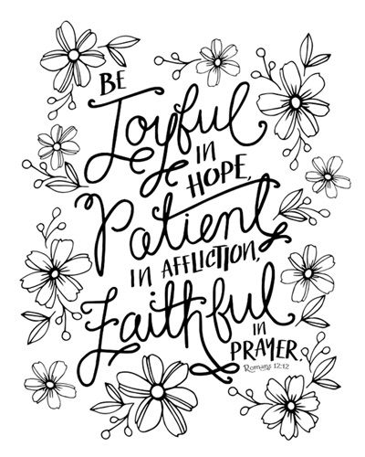 Be Joyful In Hope Romans 12 12 Coloring Canvas Canvas On