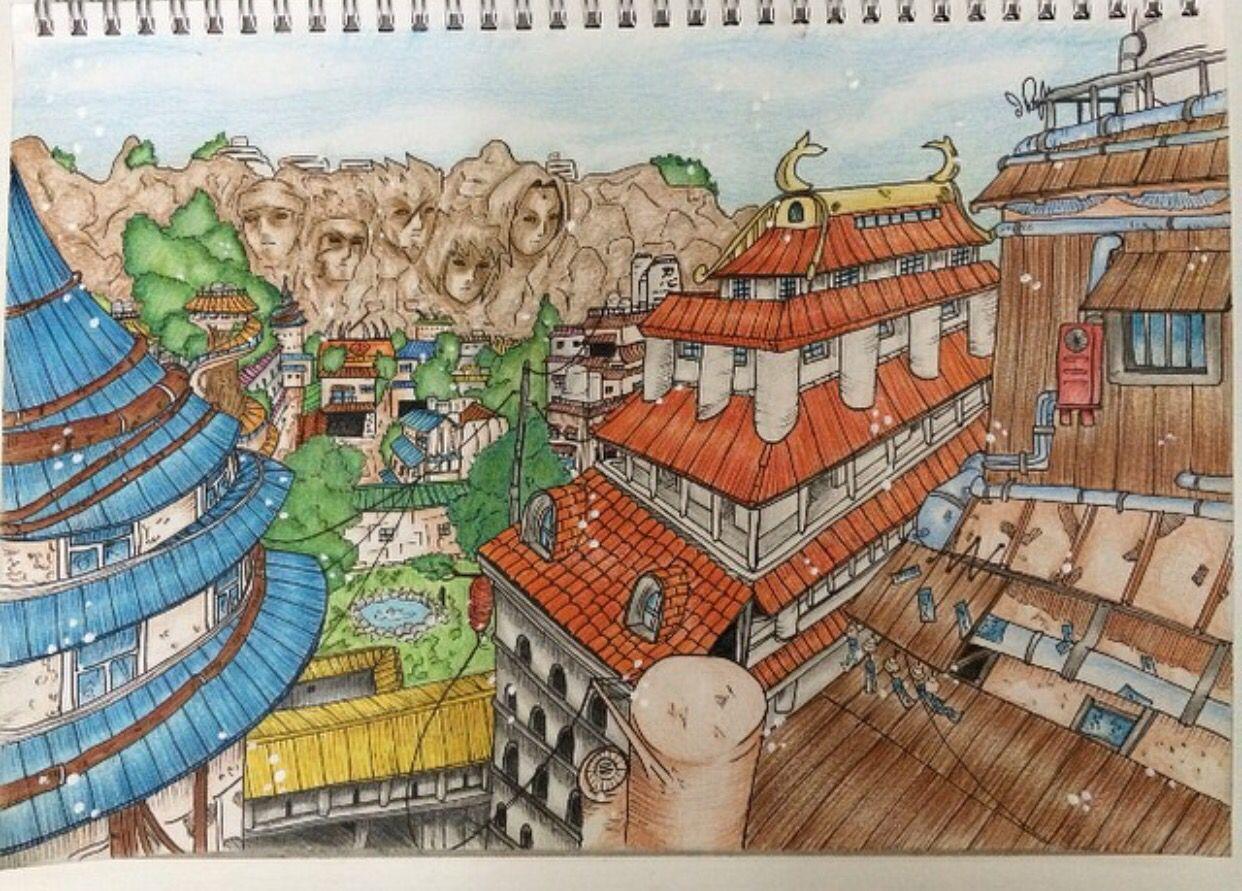 Konoha Village Naruto My Draw Village Drawing Naruto Drawings
