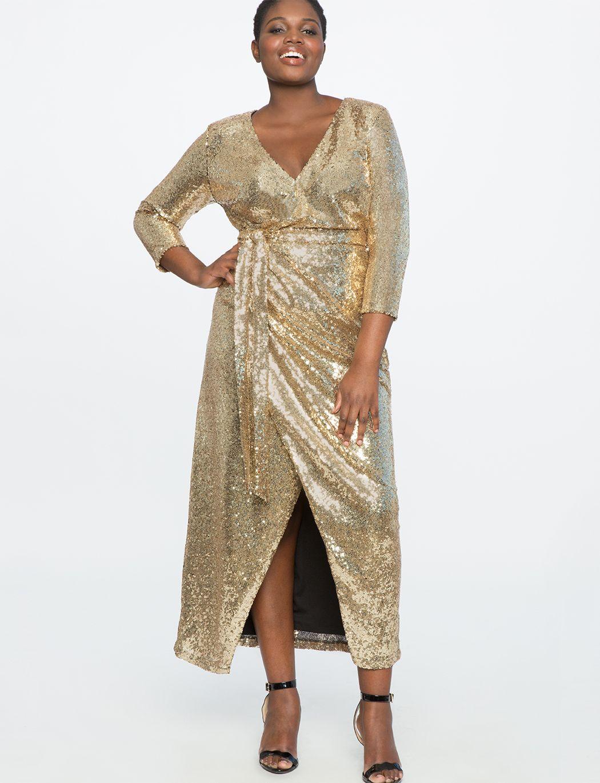 Studio Sequin Wrap Gown | Women\'s Plus Size Dresses | Bridesmaids ...