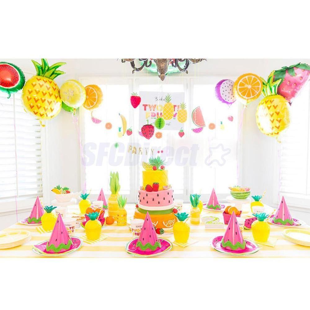 10pcs Kids Party Toy Decor Tropical Fruit Helium Foil Balloon ...